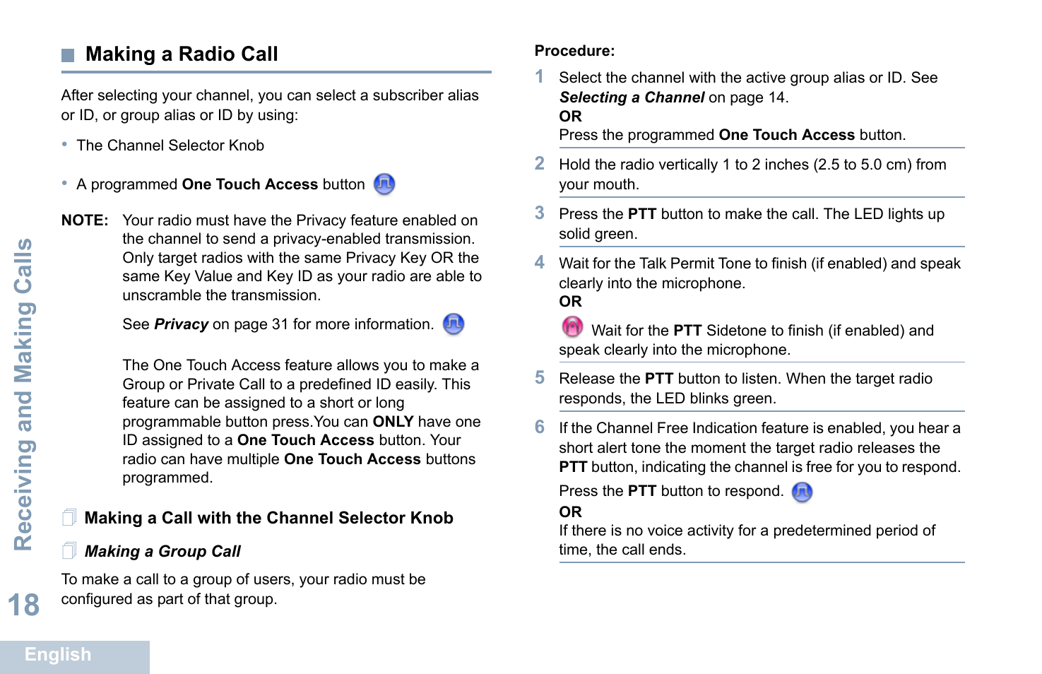 Making a radio call, Making a call with the channel selector