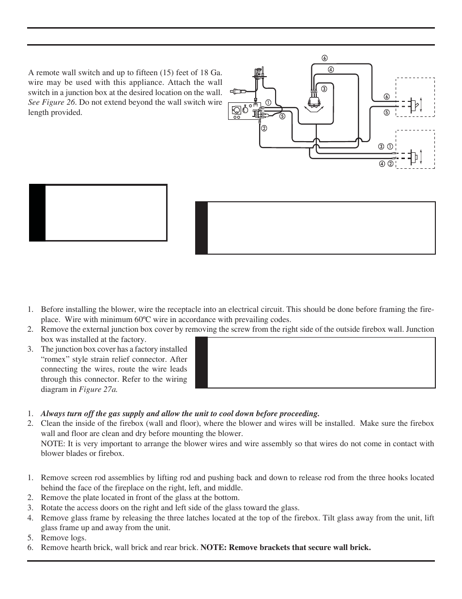 Remote Wall Switch Installation Warning Mounted Gas Firep Wiring Diagram Monessen Hearth Direct Vent Fireplace Khldv Series User Manual Page 26 52
