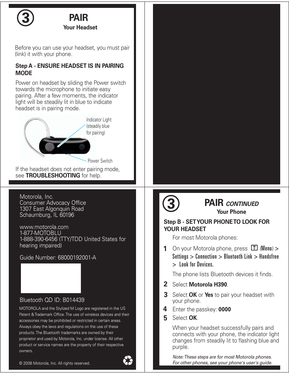 pair motorola h390 user manual page 2 6 rh manualsdir com Motorola Bluetooth Headset Instruction Manual Motorola N356 Bluetooth Earpiece Manual