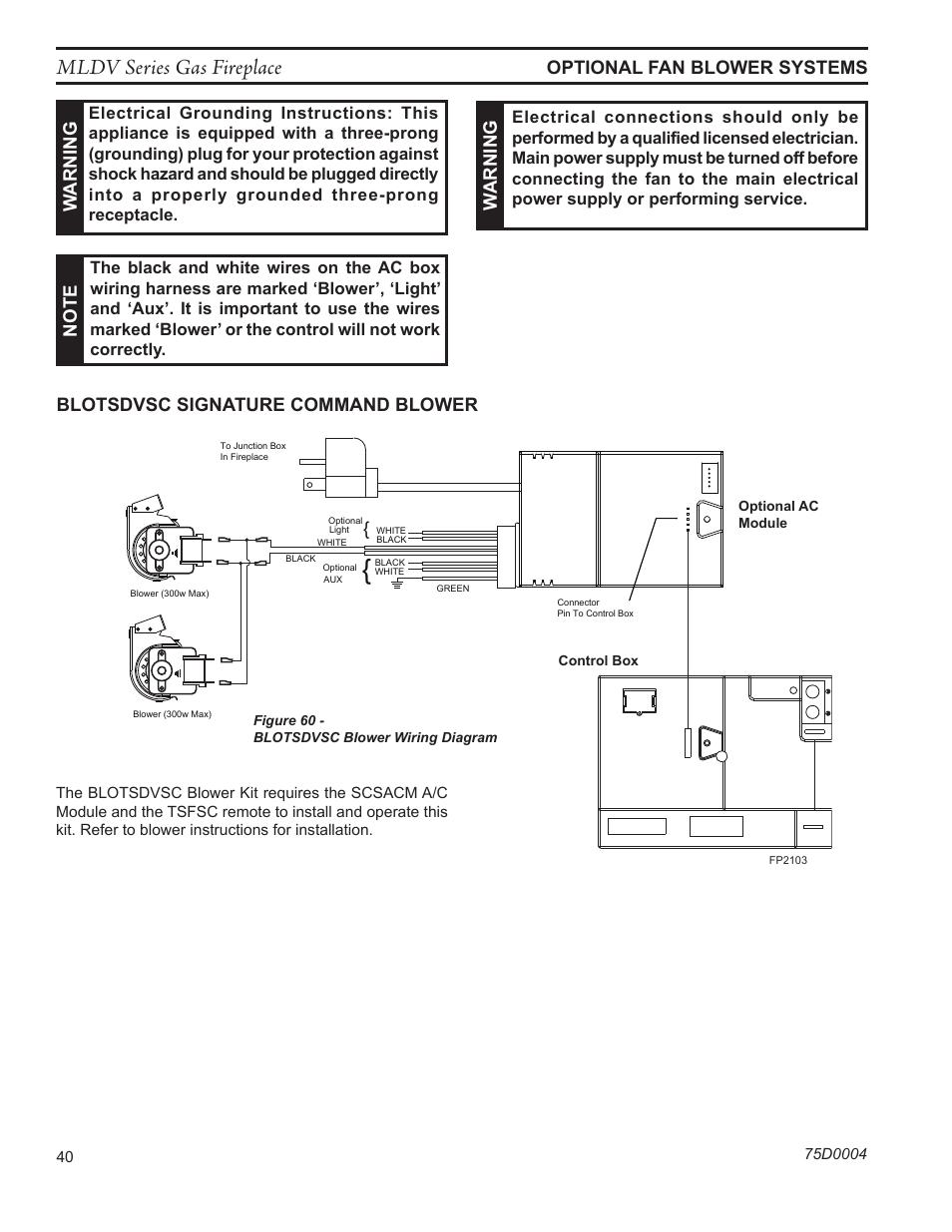 Mldv series gas fireplace, Fp2684 blotsdvsc fan wiring ... on