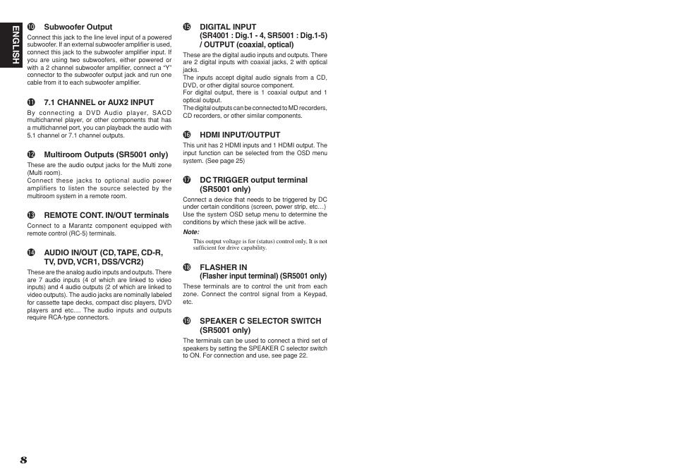 Marantz SR4001 User Manual | Page 12 / 51 | Also for: SR5001