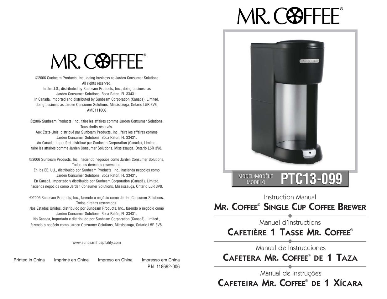 Mr Coffee Ptc13 099 User Manual 16 Pages Original Mode