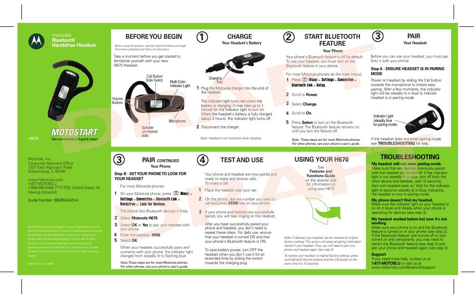 motorola h670 user manual 2 pages rh manualsdir com Bluetooth Earpiece Bluetooth Earpiece