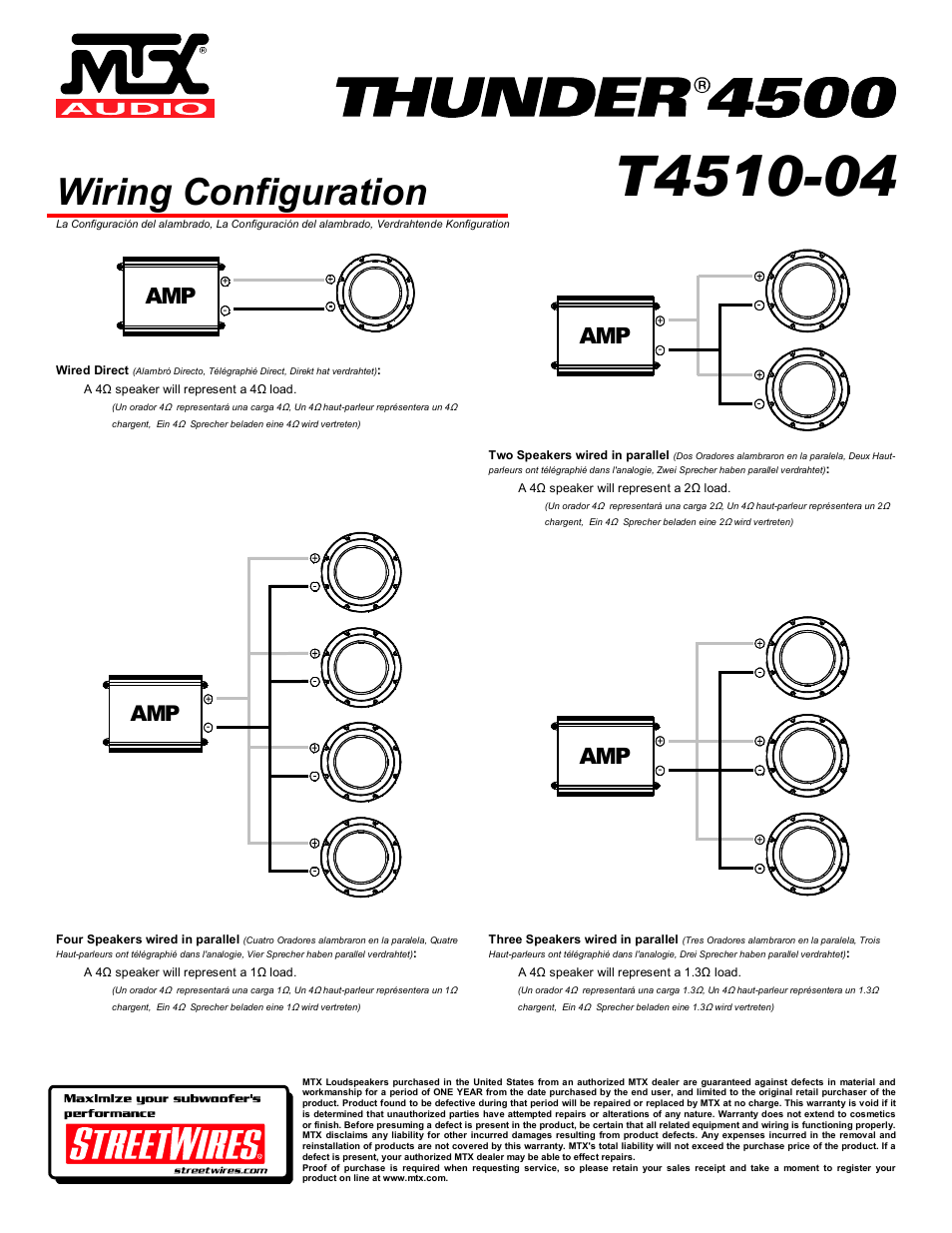 Wiring Configuration Mtx Audio Thunder 4500 T4510 04 User Amp Diagram Manual Page 4