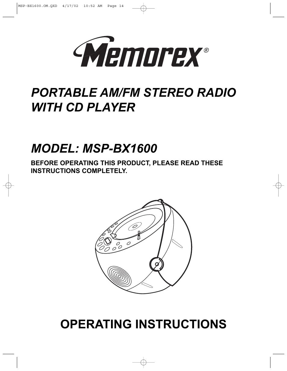 memorex msp bx1600 user manual 14 pages rh manualsdir com memorex model mb2059c instruction manual User Manual