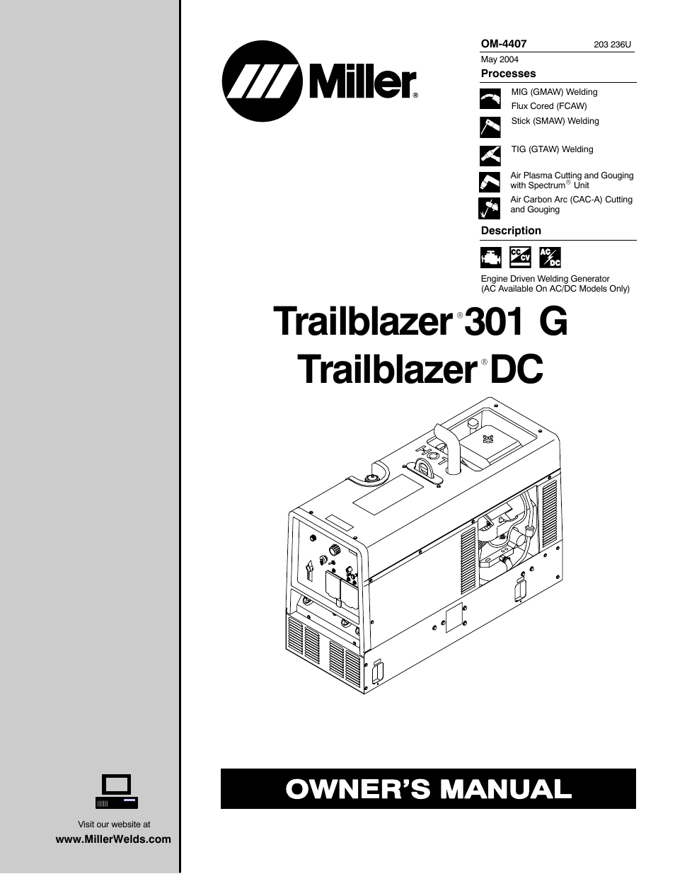 miller electric trailblazer dc user manual