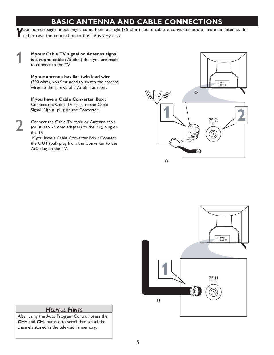 Basic antenna and cable connections   Philips Magnavox 20MT4405 User Manual    Page 5 / 34