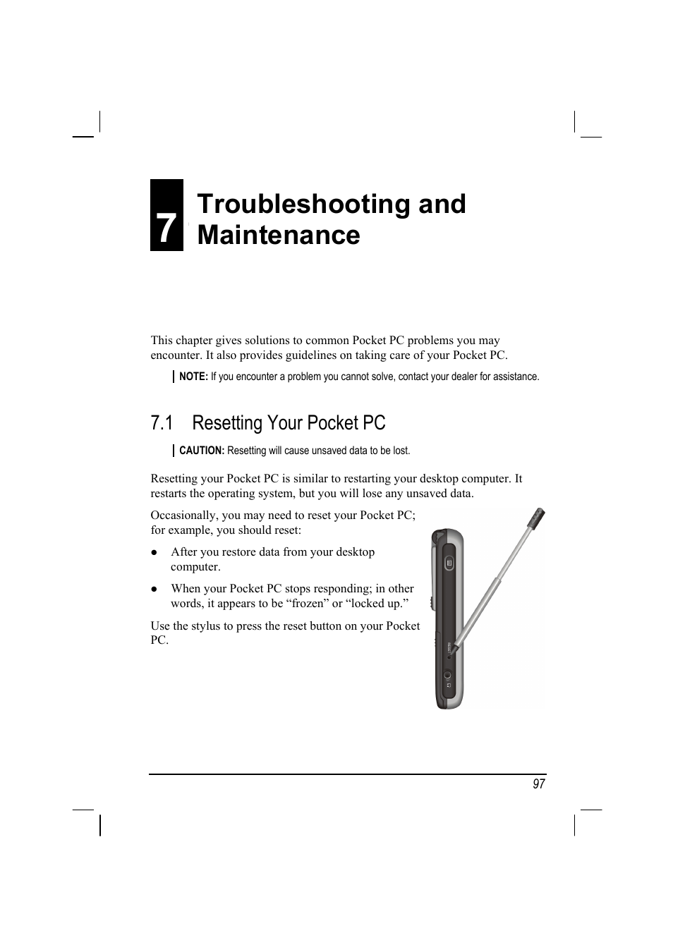 7 troubleshooting and maintenance, 1 resetting your pocket pc, Resetting  your pocket pc |