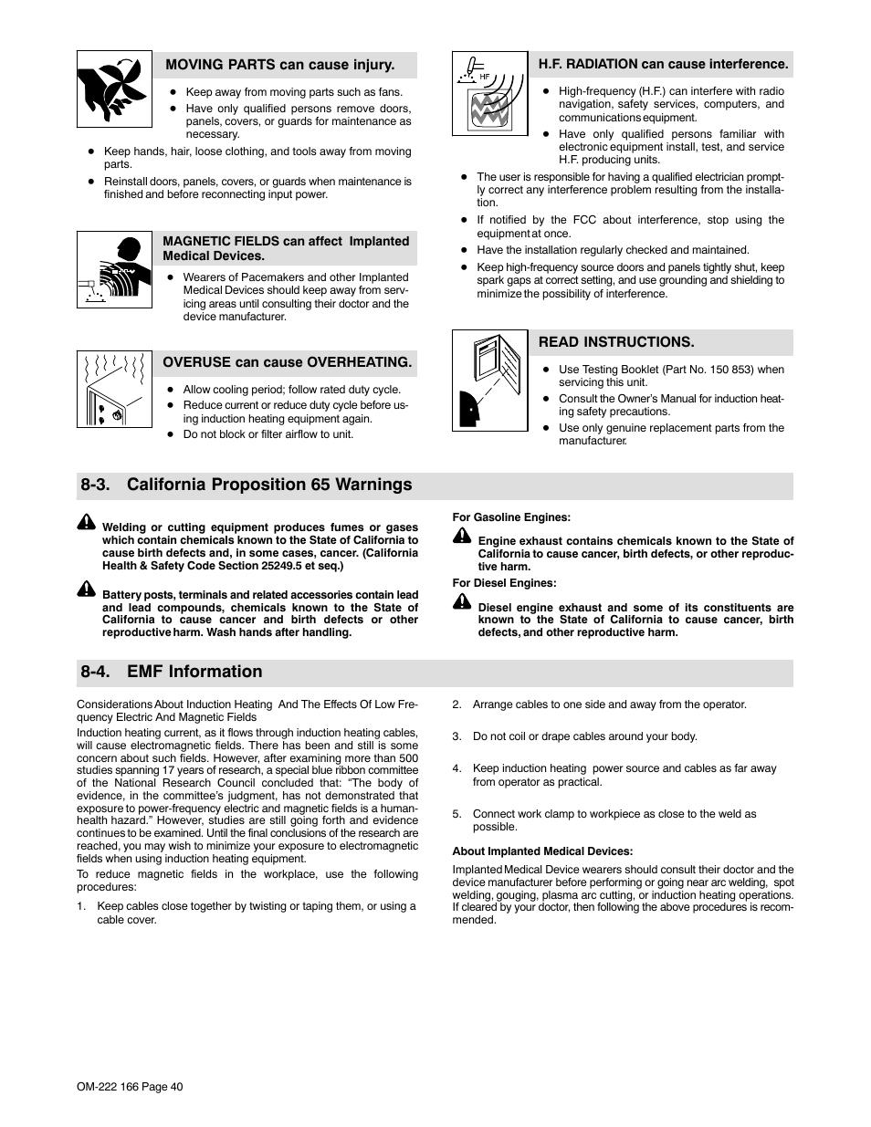 3  california proposition 65 warnings, 4  emf information | Miller