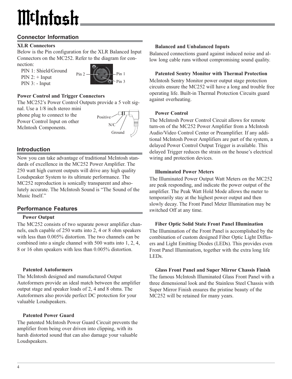 McIntosh MC252 User Manual | Page 4 / 24