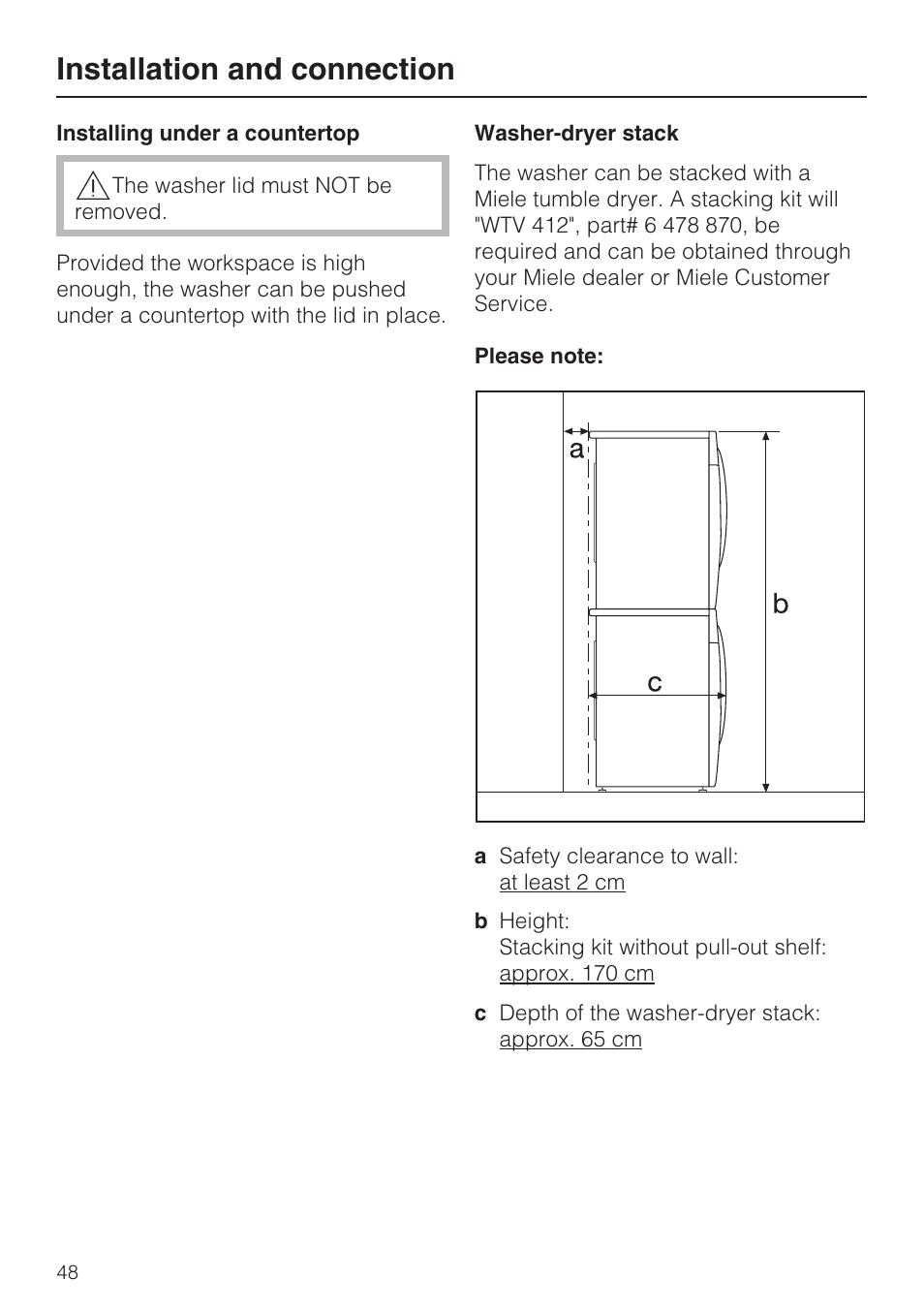 Installing Under A Countertop 48 Washer Dryer Stack Installation And Connection Miele W 1612 User Manual Page 60