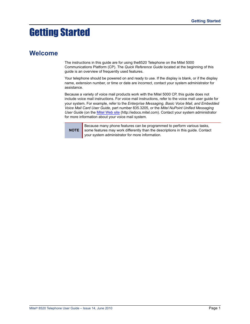 getting started welcome mitel 8520 user manual page 13 76 rh manualsdir com