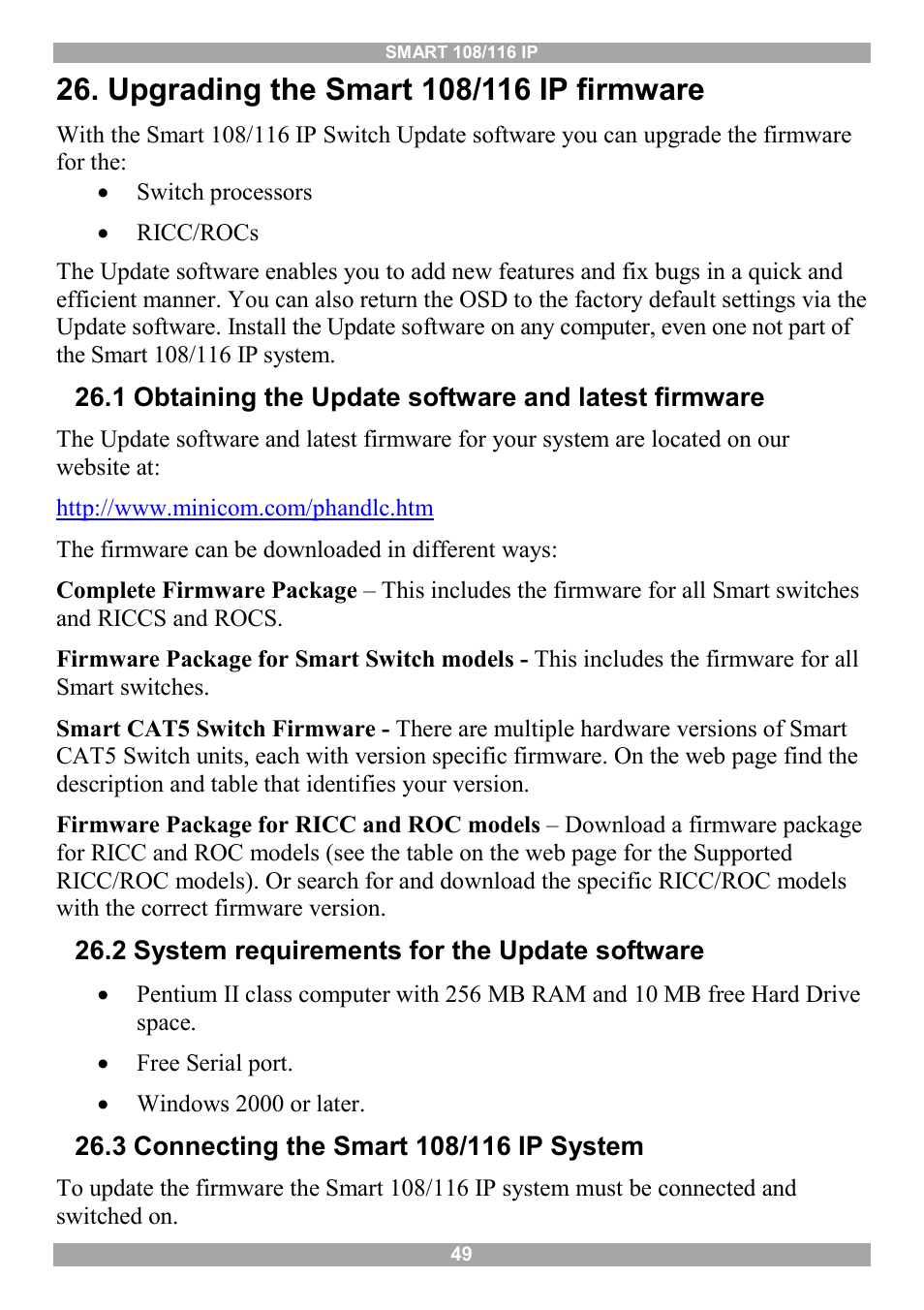 Upgrading the smart 108/116 ip firmware, 2 system requirements for