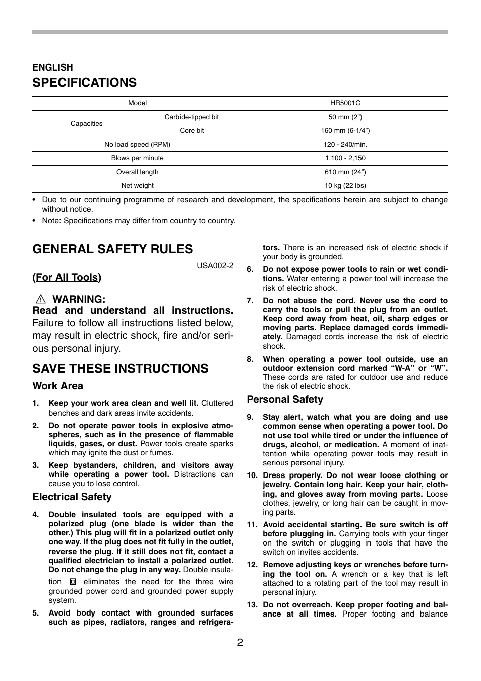 specifications general safety rules save these instructions rh manualsdir com makita hm1400 user manual makita hm1400 user manual