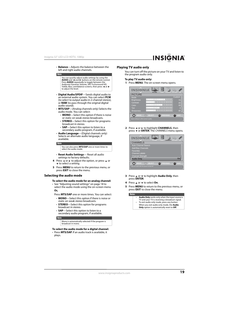 Madison : Insignia tv manual volume