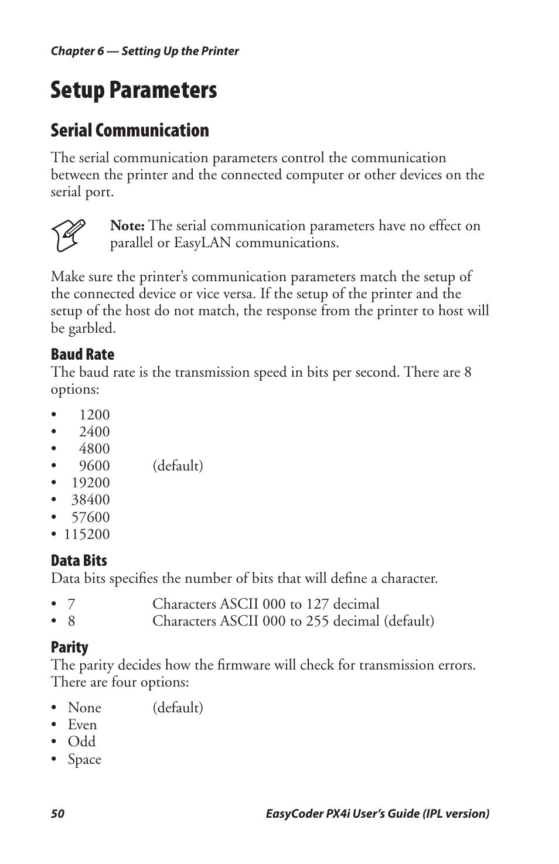 Setup parameters, Serial communication | Intermec PX4I User Manual