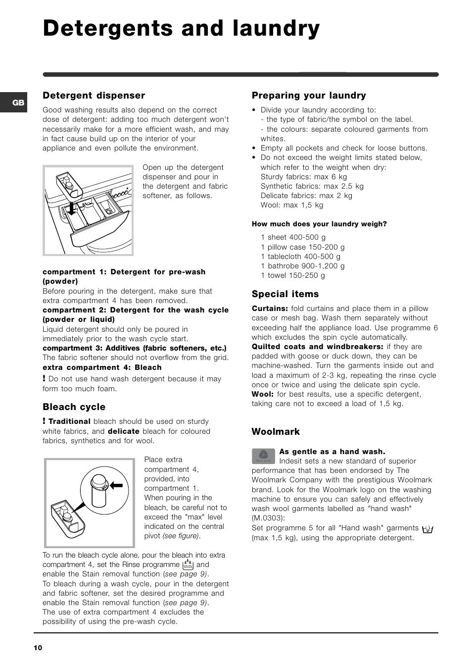 Detergents and laundry indesit wixe 127 user manual page 10 16 buycottarizona Choice Image