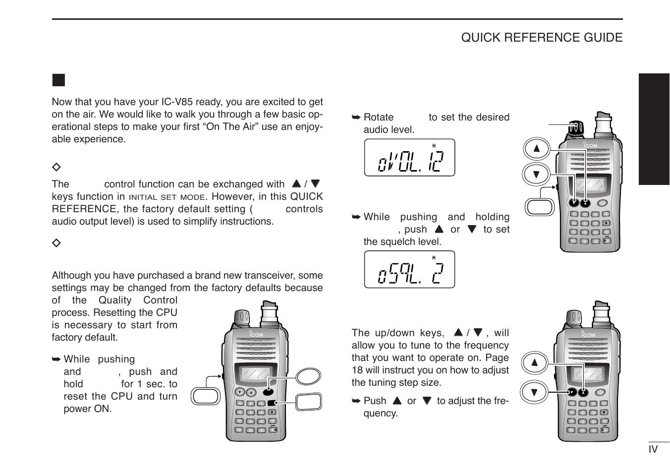 your first contact dabout default setting dbasic operation icom rh manualsdir com icom ic-v85 china manual icom fm transceiver ic-v85 manual