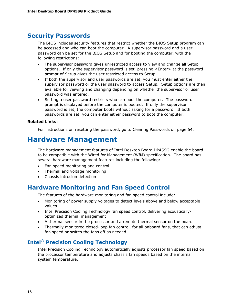 Security passwords, Hardware management, Hardware monitoring