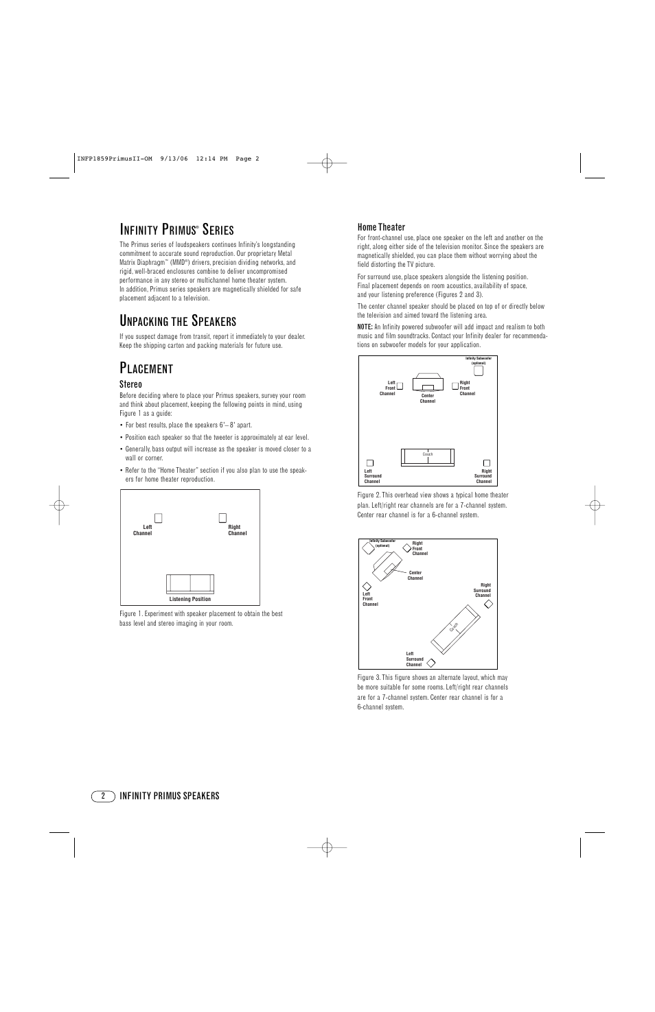 nfinity, rimus, eries | infinity primus pc250 user manual | page 2