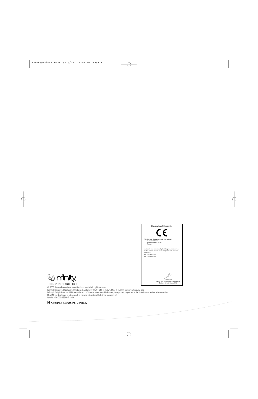 infinity primus pc250 user manual | page 8 / 8 | original mode