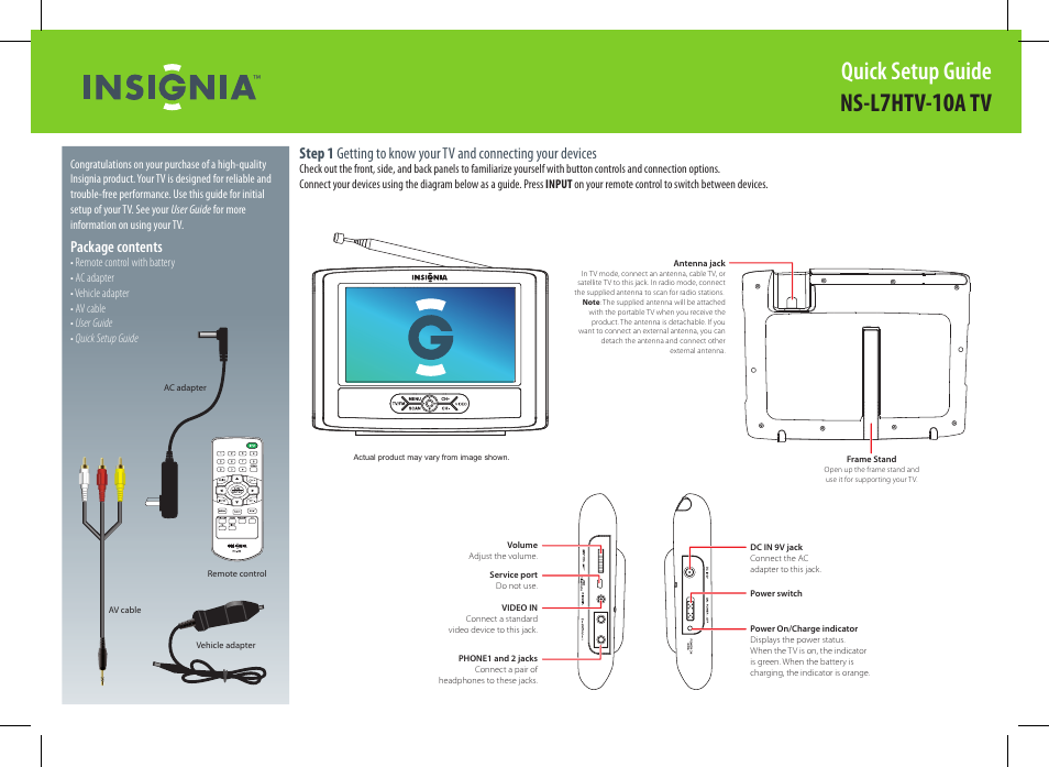Insignia NS-L7HTV-10ATV User Manual | 2 pages | Also for: 09