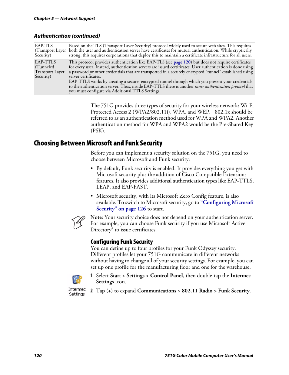 Choosing between microsoft and funk security configuring funk choosing between microsoft and funk security configuring funk security intermec 751g user manual page 134 156 1betcityfo Gallery