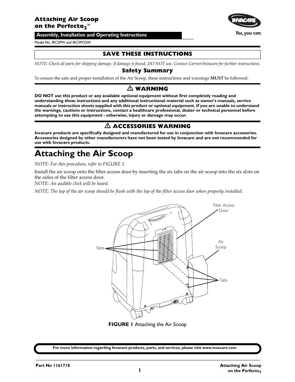 Invacare Perfecto2 IRC5PO2W User Manual | 2 pages | Also for: Oxygen  Concentrators Perfecto2