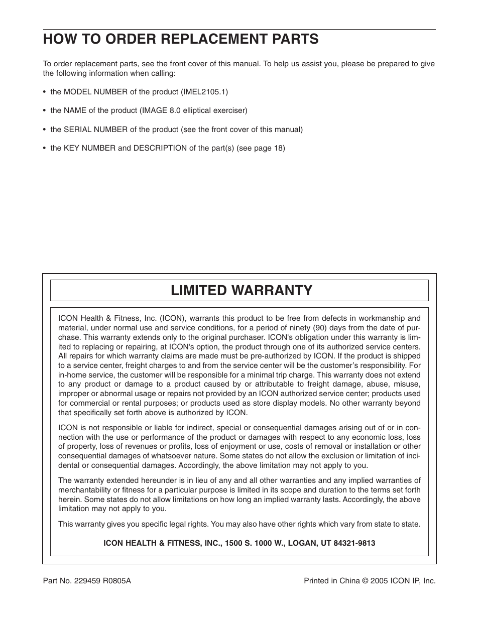 how to order replacement parts limited warranty image imel2105 1 rh manualsdir com
