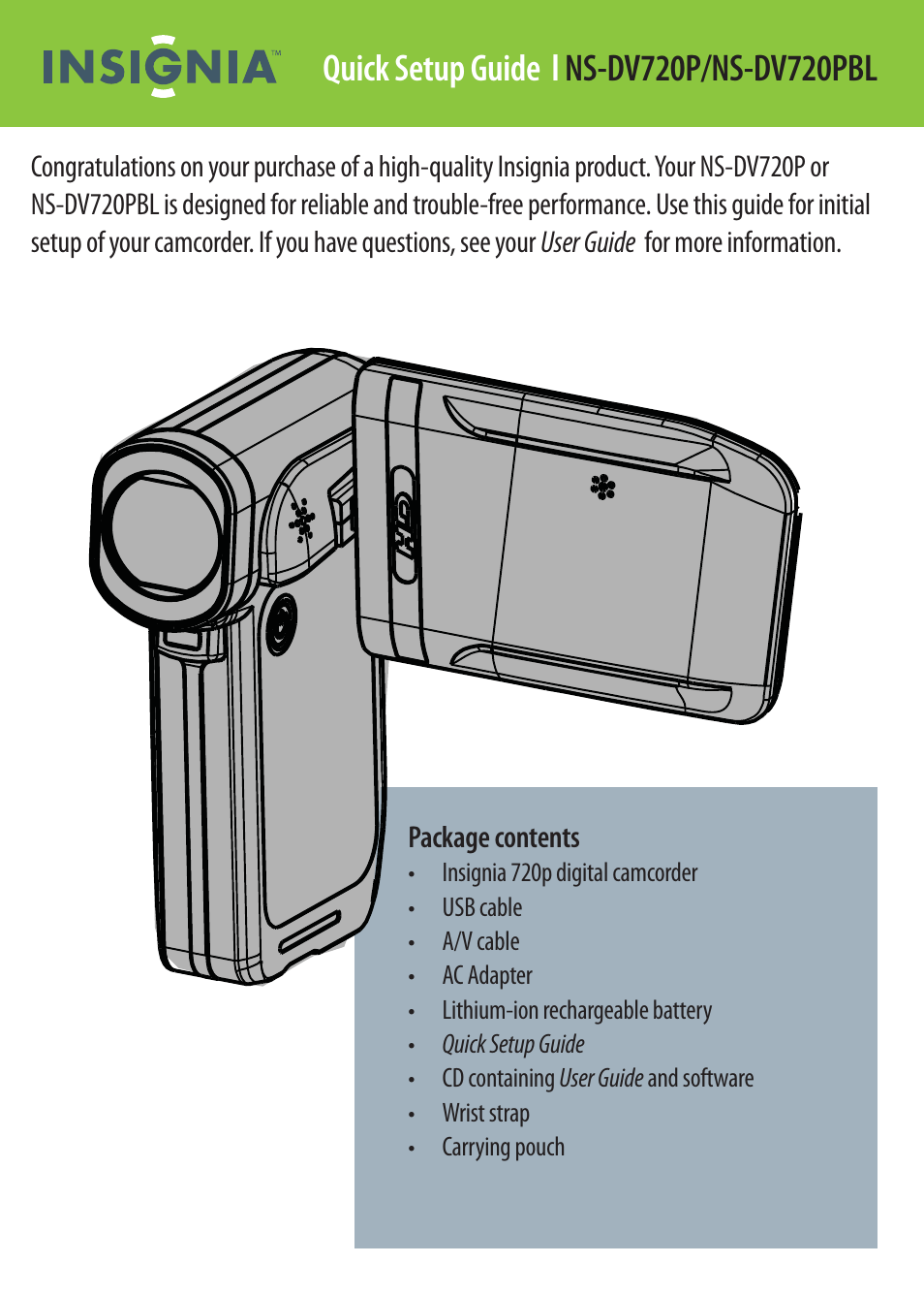 insignia ns dv720pbl user manual 8 pages also for ns dv720p rh manualsdir com Insignia Camcorder NS-DV111080F Insignia NS-DCC5HB09 Camcorder