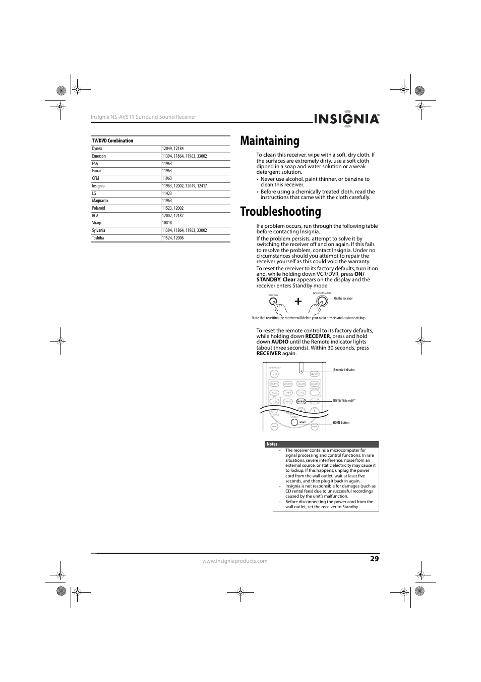 Maintaining troubleshooting insignia ns av511 user manual maintaining troubleshooting insignia ns av511 user manual page 33 38 sciox Gallery