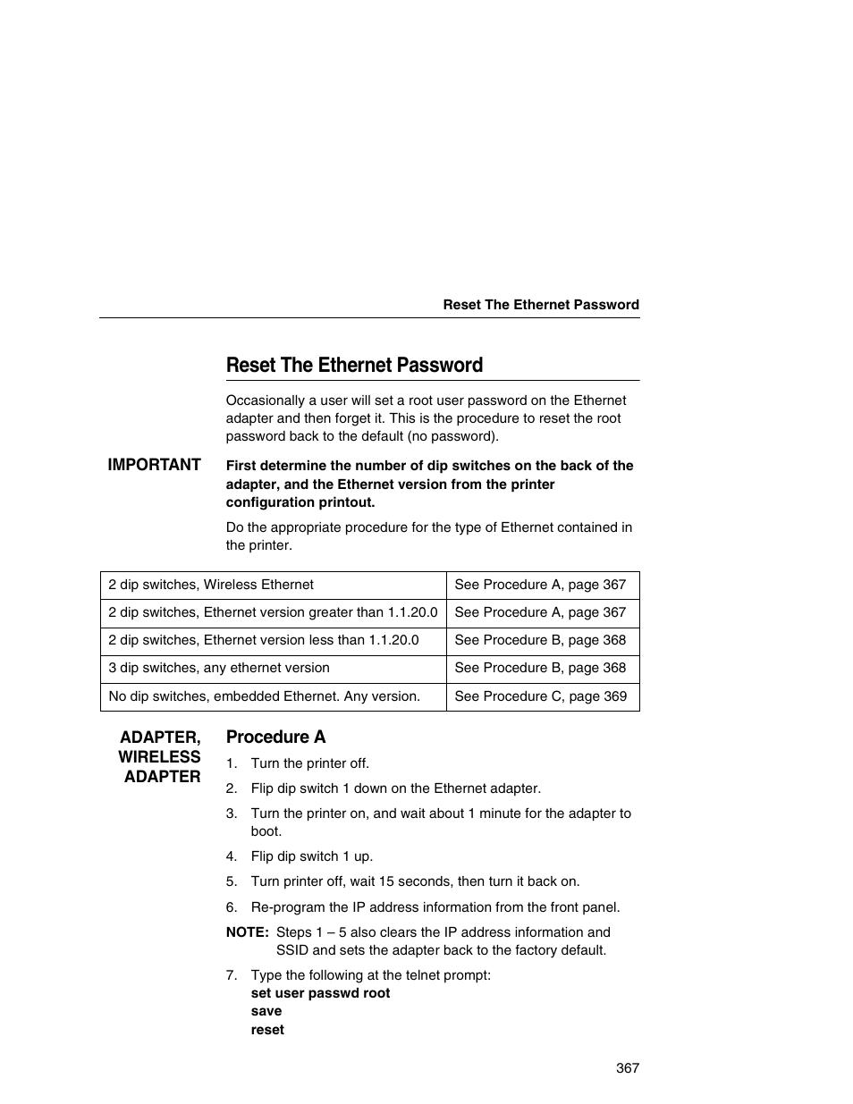 reset the ethernet password procedure a ibm infoprint 6500 user rh manualsdir com IBM 6500 V2.0 ibm infoprint 6500 user manual