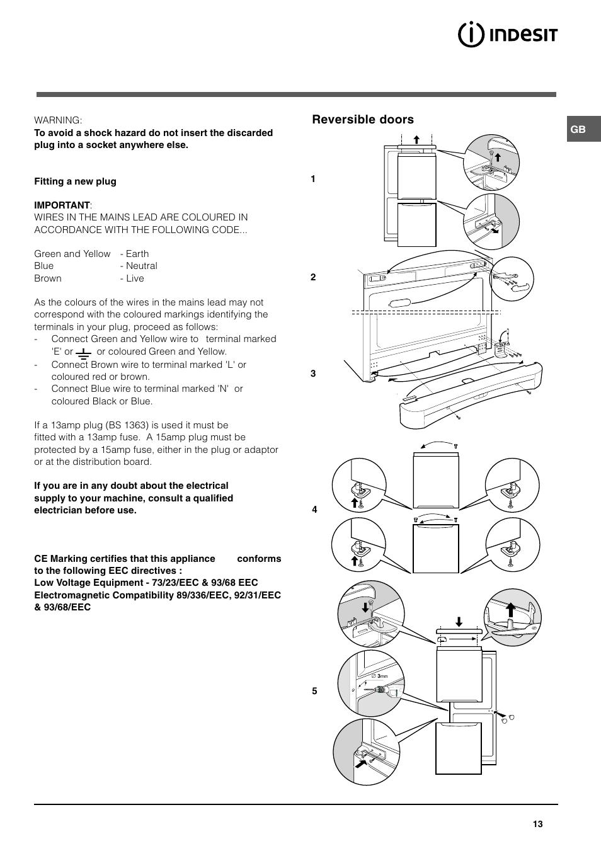 Reversible Doors Indesit Baan 10 User Manual Page 3 12 Wiring A Plug Colours