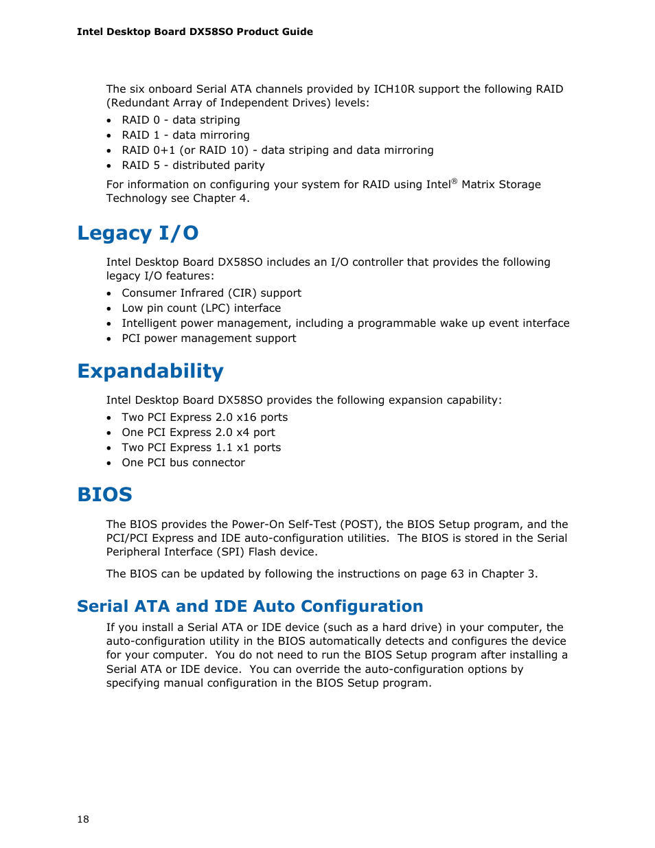 Legacy i/o, Expandability, Bios | Intel DX58SO User Manual