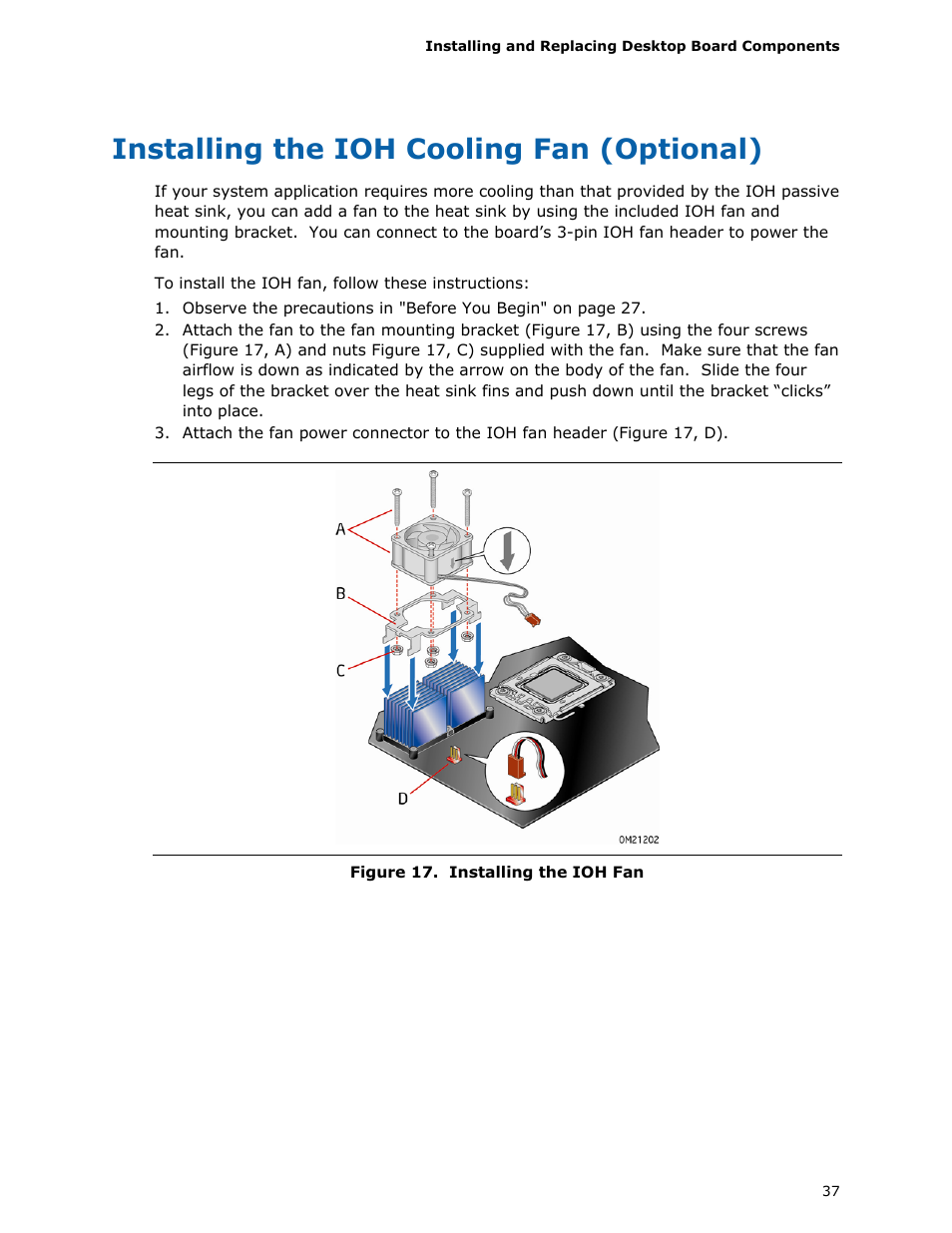 Intel Computer Fan Wiring Diagram Radiator Cpu Installing The Ioh Cooling Optional Dx58so User Manual On