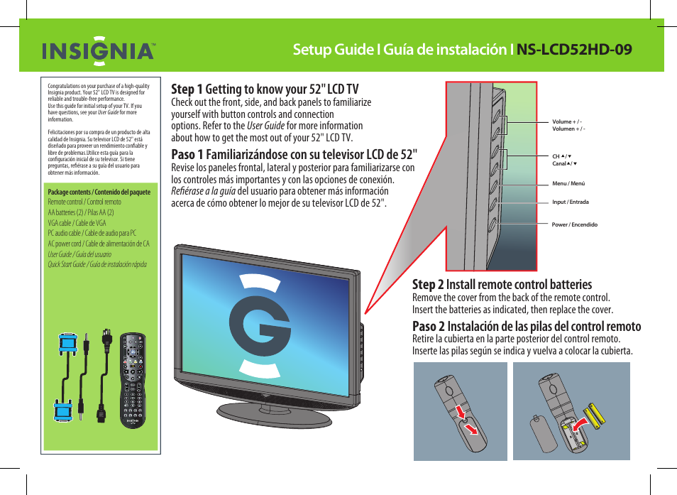 insignia ns lcd52hd 09 user manual 2 pages original mode rh manualsdir com insignia tv user manual for ns-24d310na17 insignia tv user guide