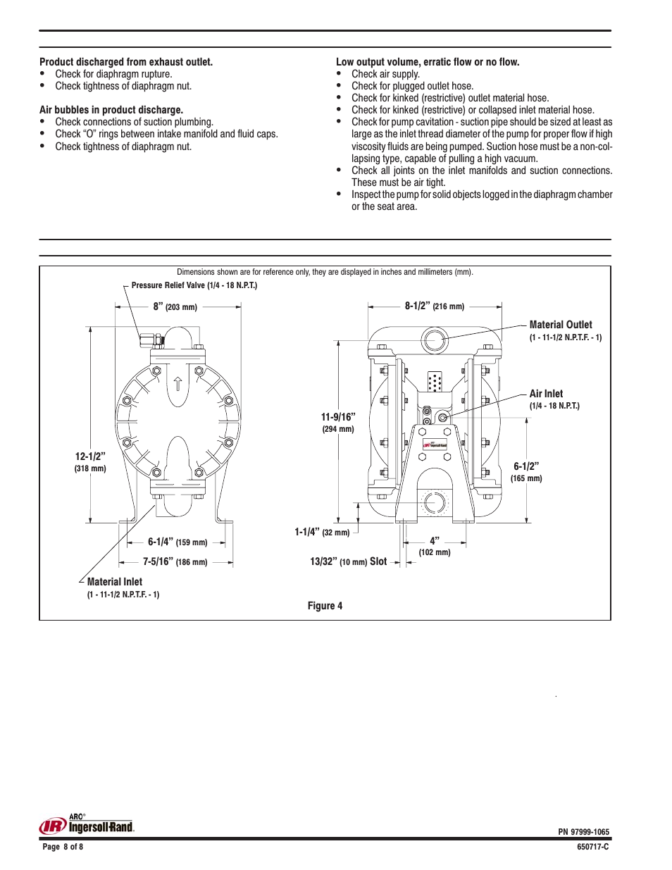 Trouble shooting, Dimensional data | Ingersoll-Rand 650717-C User Manual |  Page 8 / 8