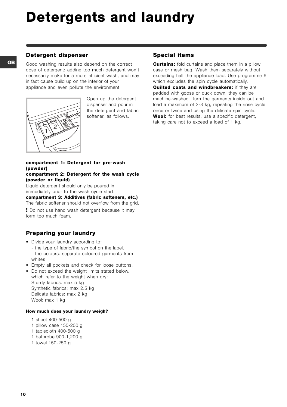 Detergents and laundry indesit widl 146 user manual page 10 16 buycottarizona Choice Image