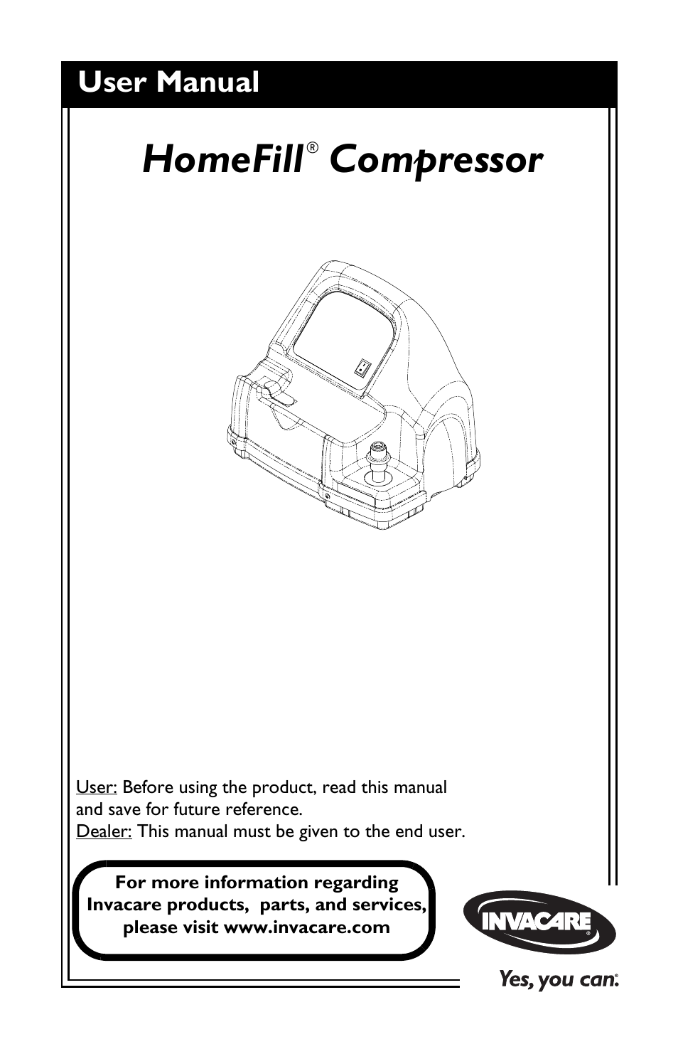 invacare compressor user manual