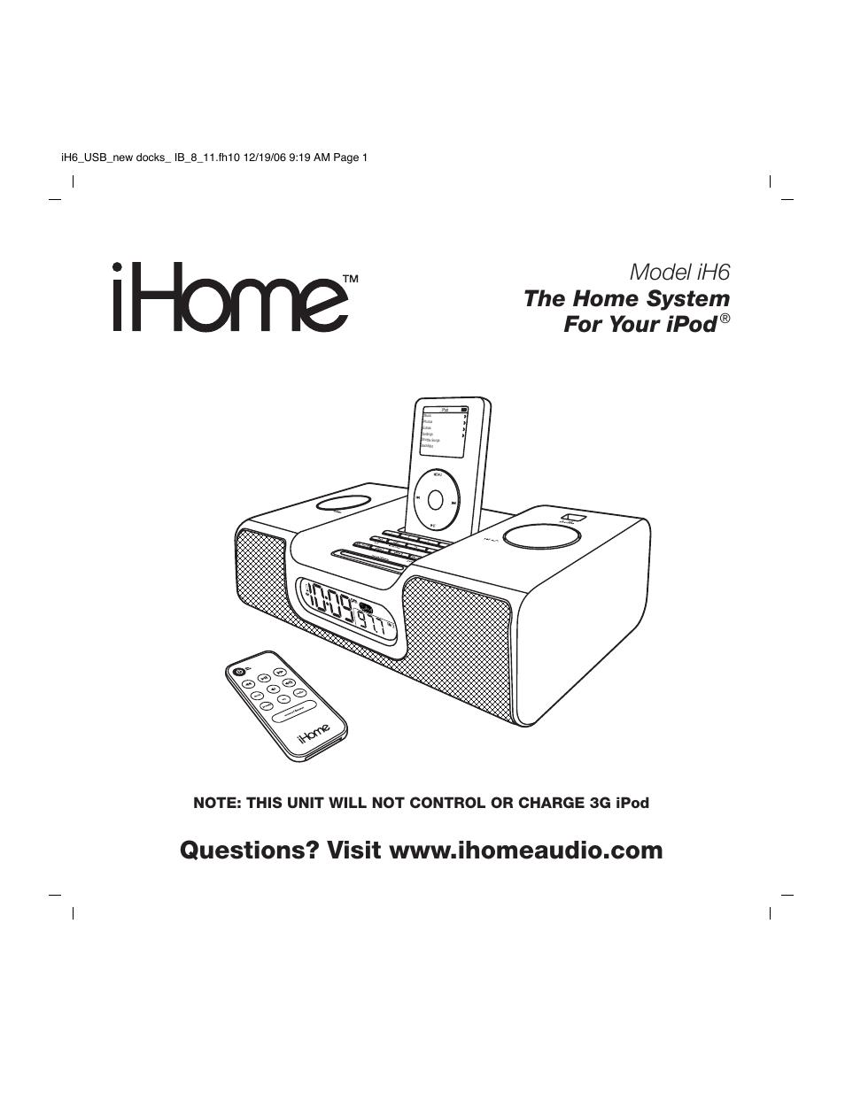 ihome ih6 user manual 13 pages rh manualsdir com Old iHome Models iHome Speaker Models