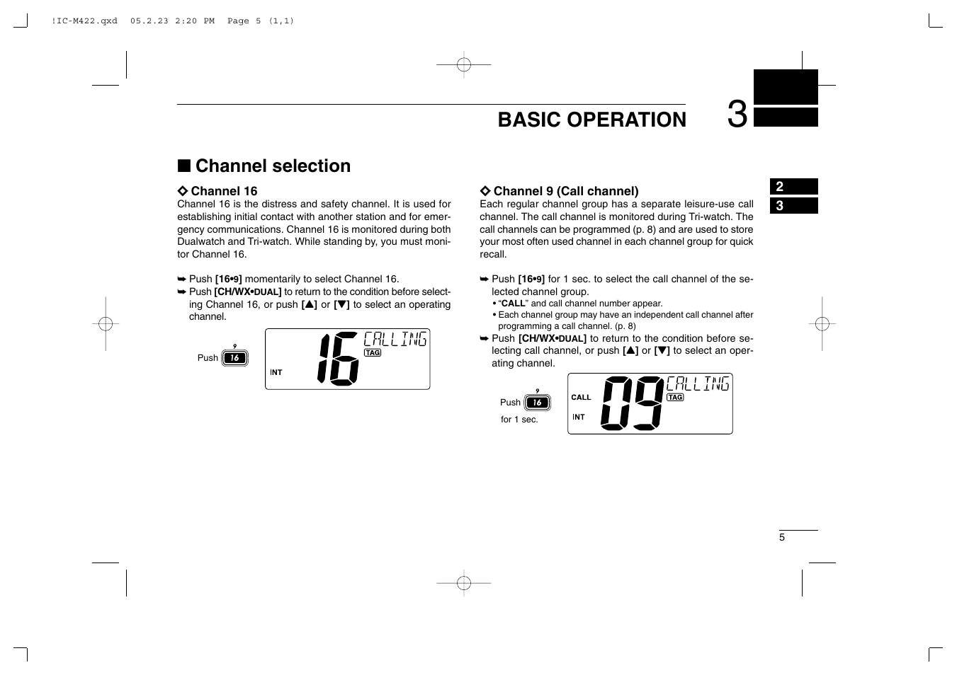 basic operation channel selection icom ic m422 user manual page