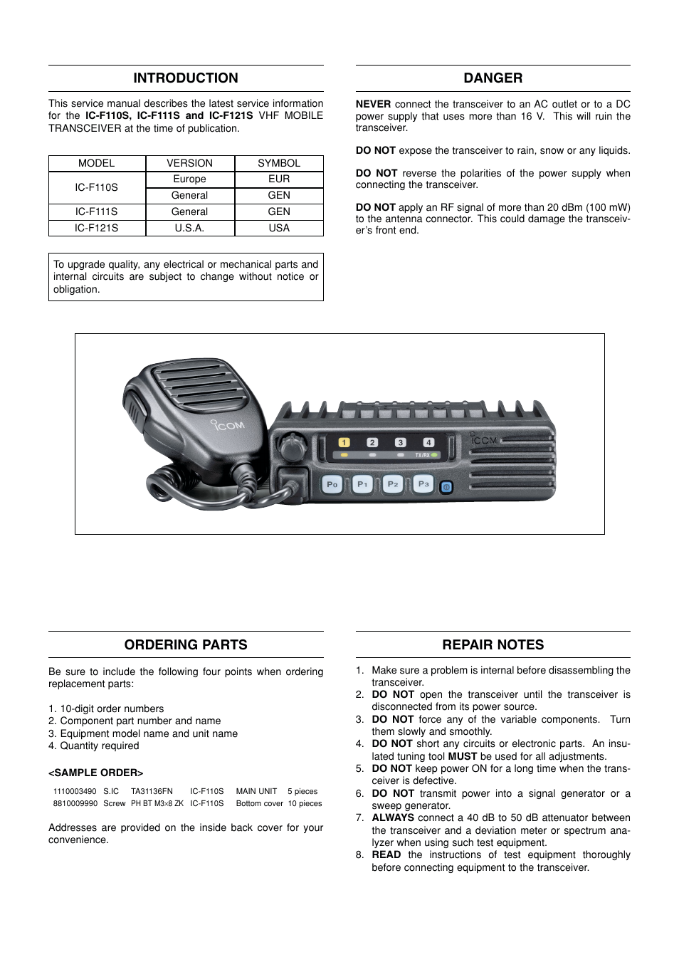Introduction, Danger, Ordering parts | Icom IC F121S User