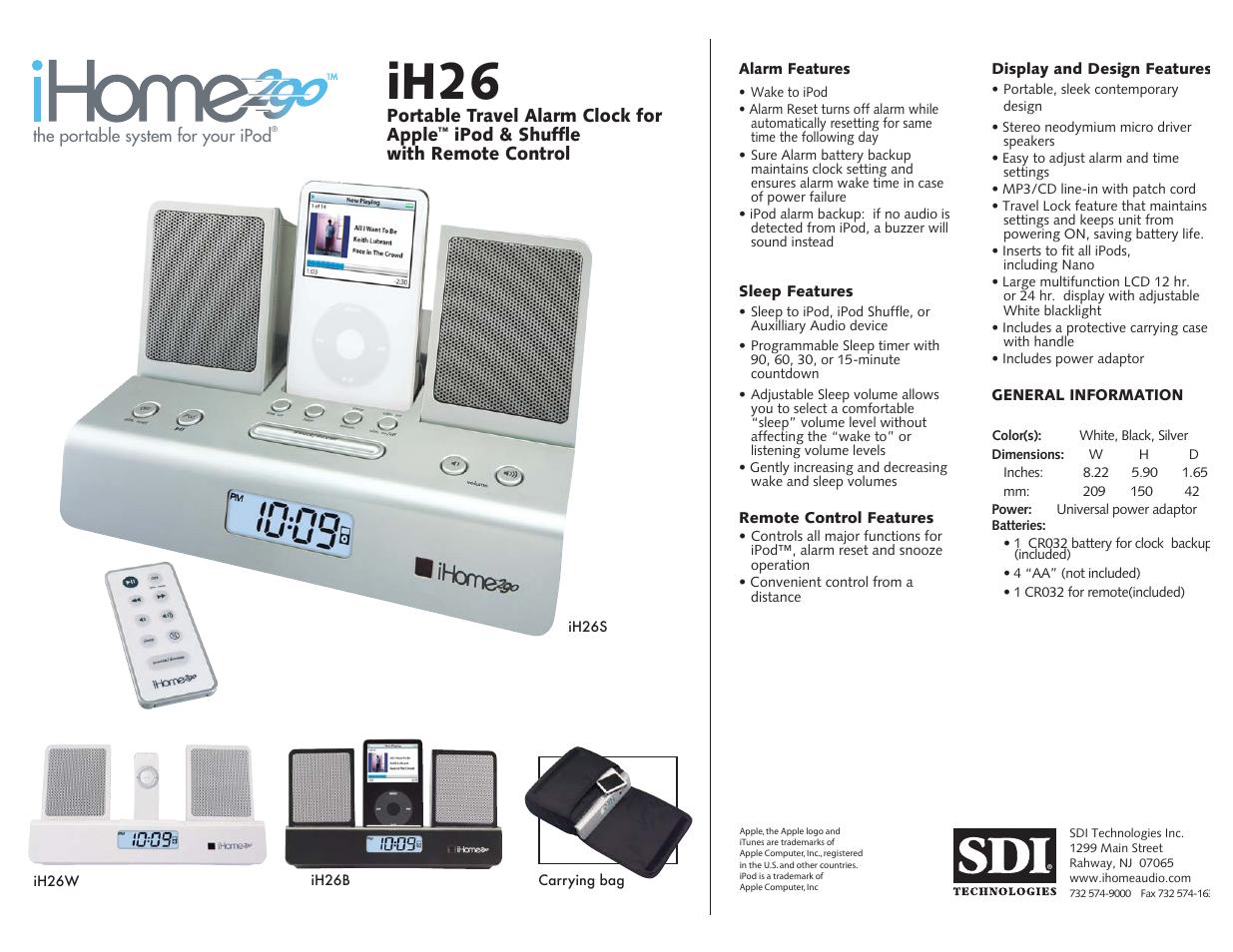 iHome iH26S User Manual | 1 page