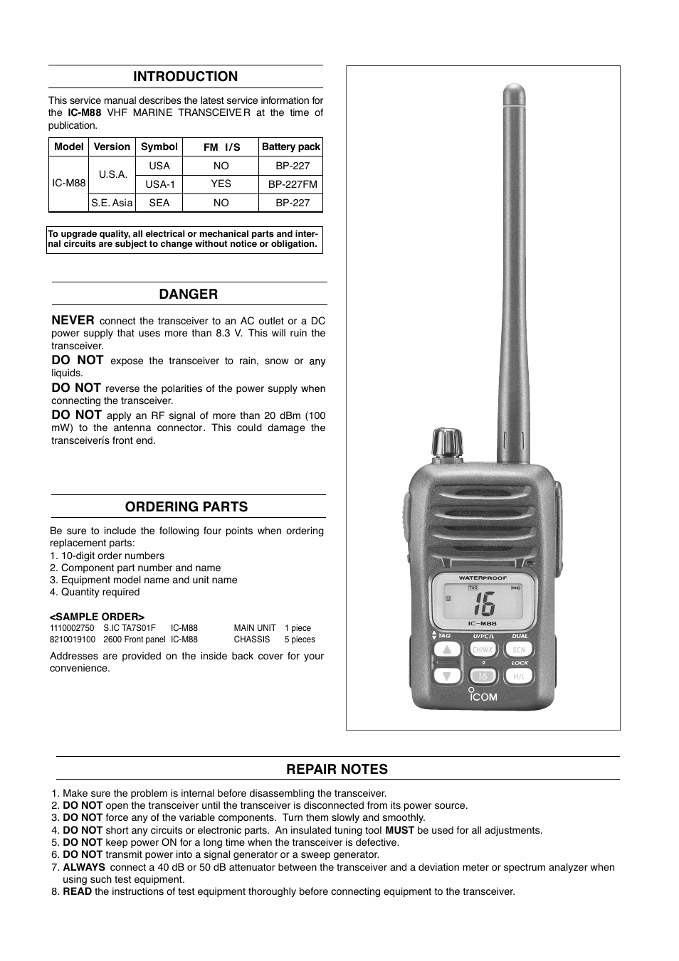 Introduction, Danger, Ordering parts | Icom VHF Marine Transceiver IC-M88  User Manual | Page 2 / 38