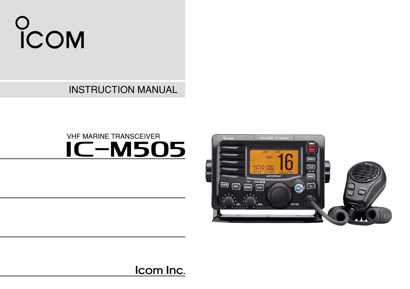 icom ic m505 user manual 80 pages rh manualsdir com icom ic-m505 manuel ic-m505 service manual