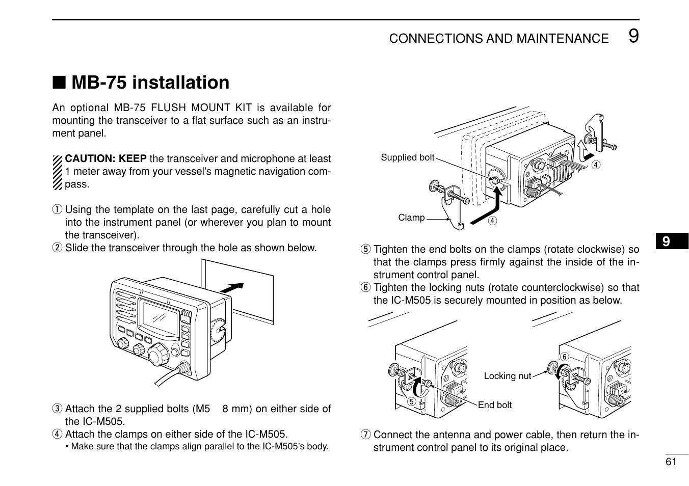 mb 75 installation icom ic m505 user manual page 67 80 rh manualsdir com Logitech M505 Not Working Palm M505 Software