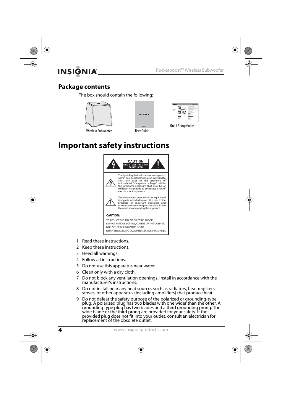 Package contents, Important safety instructions | Insignia NS-RSW211 User  Manual | Page 4