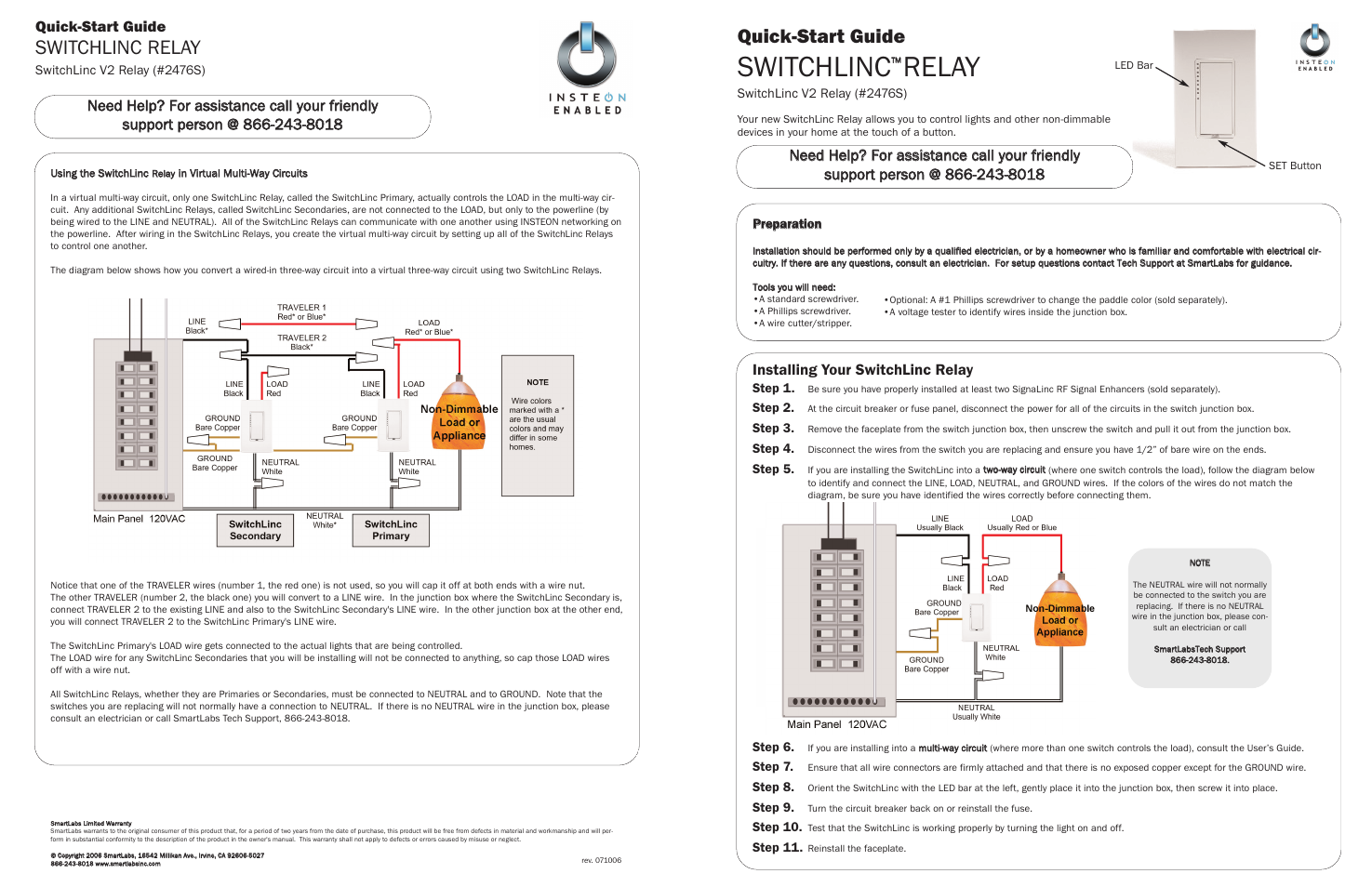 Insteon Switchlinc 2476s User Manual 2 Pages 4 Way Wiring Diagram