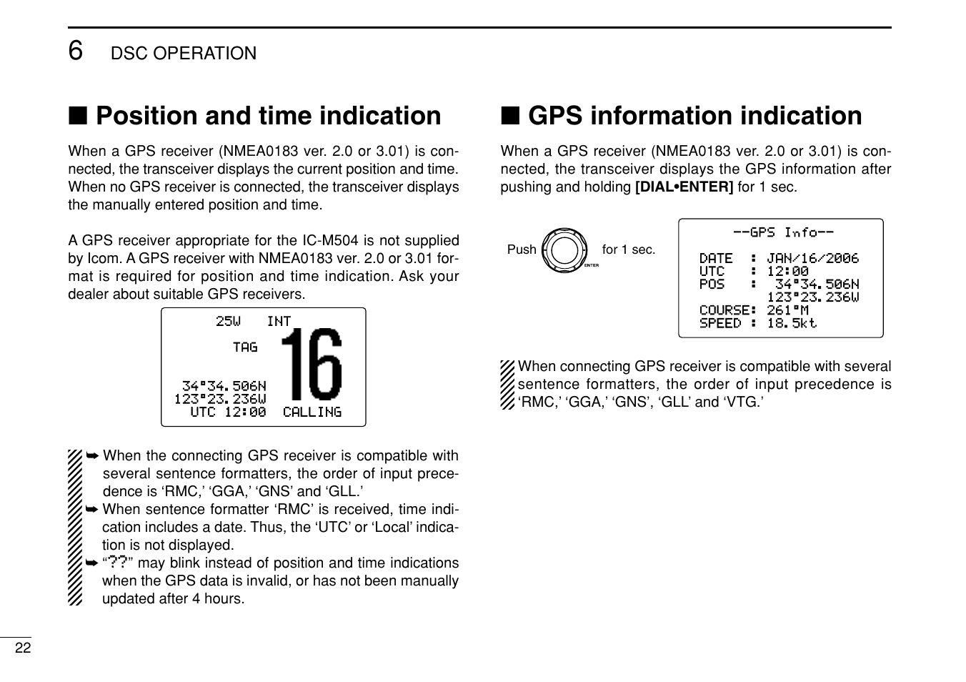 Position and time indication, Gps information indication, Dsc operation | Icom  IC-M504 User Manual | Page 28 / 80