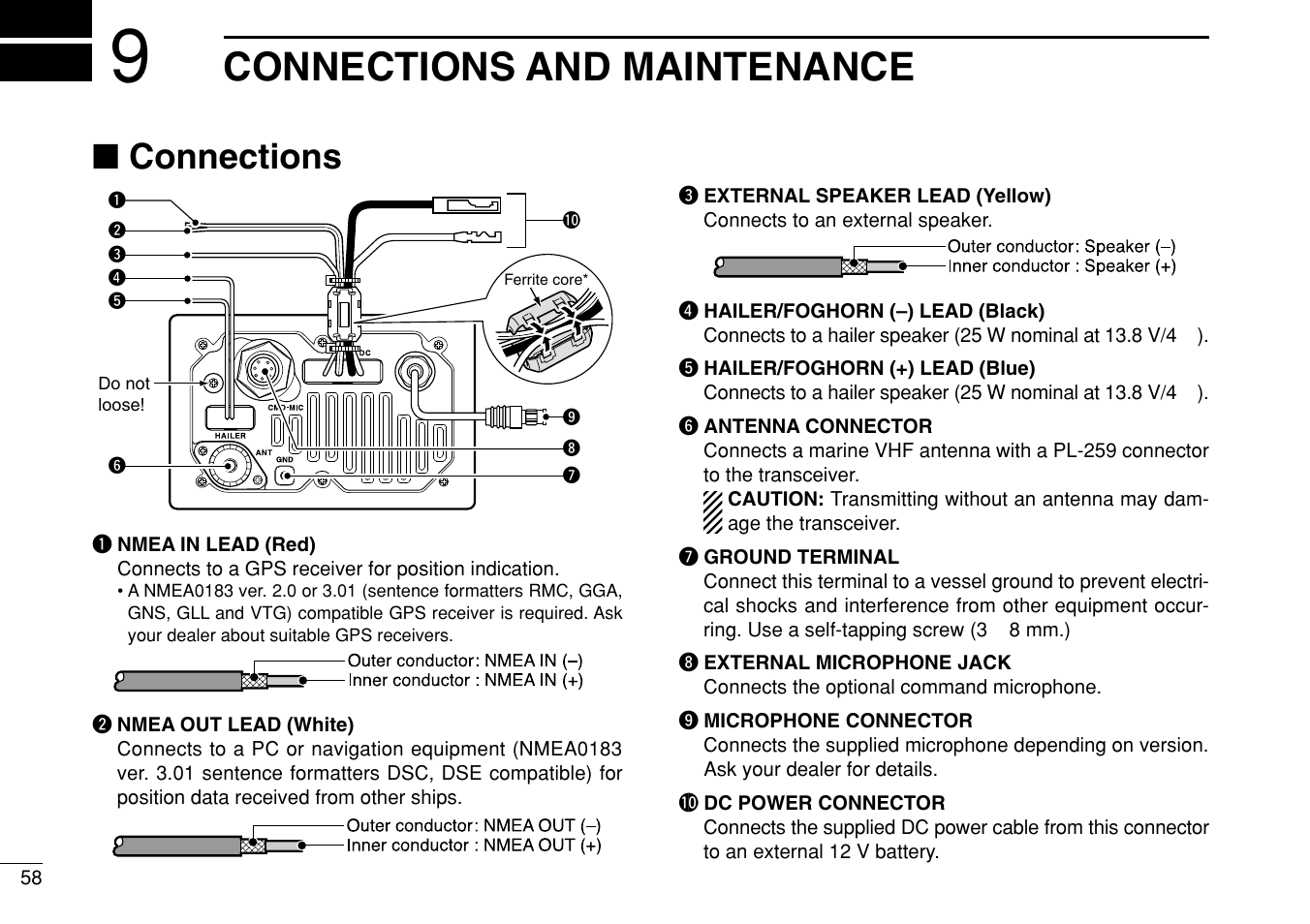 Connections and maintenance, Connections | Icom IC-M504 User Manual | Page  64 /